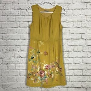 Darling M Mustard Floral Sleeveless Career Dress